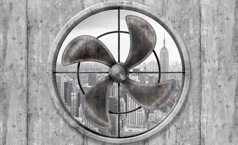 Fotobehang Doorkijk op New York City via Ventilator