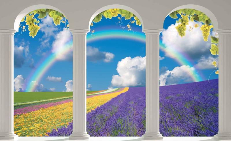 Fotobehang Lavendelveld met Bogen