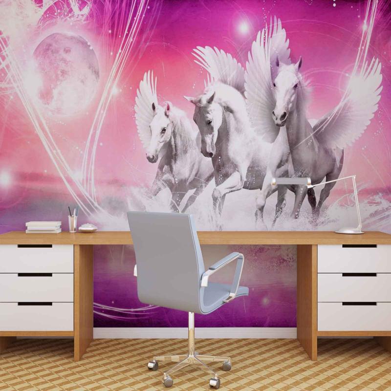 Paarden Behang Posterbehang.Fotobehang Gevleugelde Paarden Pegasus Roze Wallart By