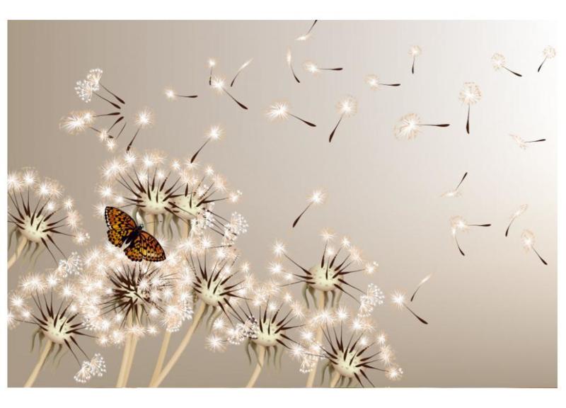 Fotobehang Paardenbloemen en vlinder