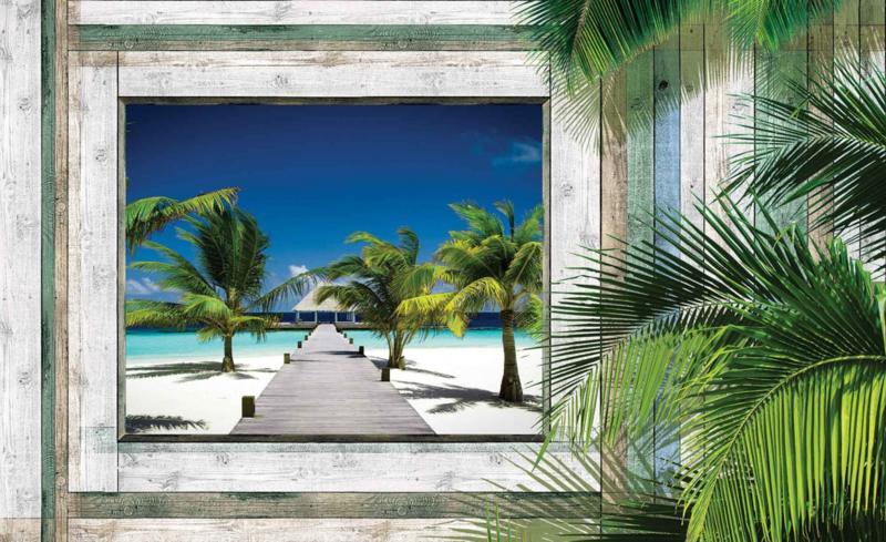 Fotobehang Uitzicht op het Palmstrand en Huis