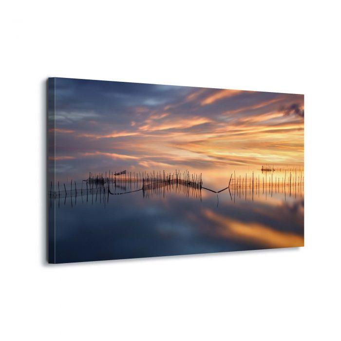 Canvasdoek Zonsondergang over het meer