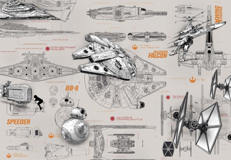 Komar fotobehang 8-493 Star Wars Blueprints