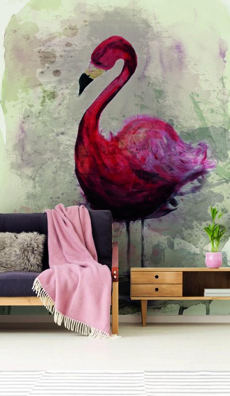 Fotowand Flamingo by Sabrina Ziegenhorn afm. 200cm x 270cm hoog