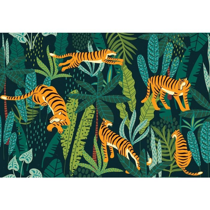 Fotobehang Retro Jungle Tigers