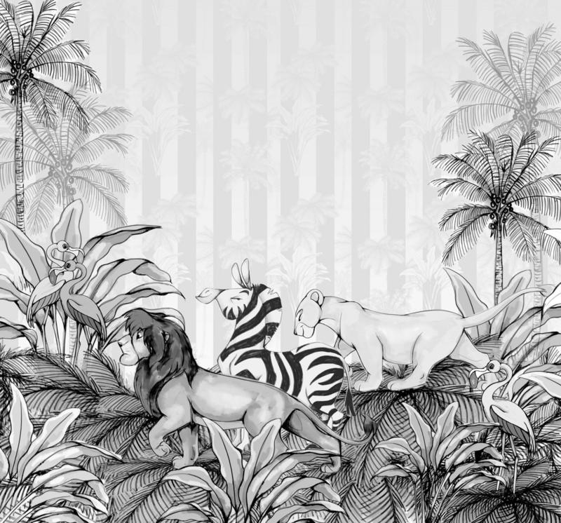 Komar fotobehang DX6-009 Lion King Monochrome