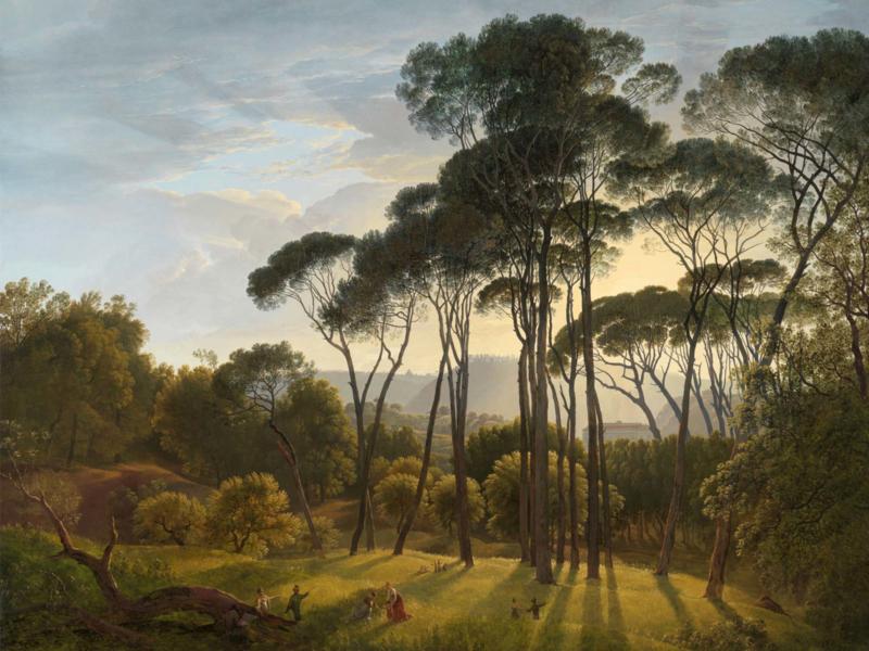 Canvasdoek Italiaans Landschap met Parasoldennen, Hendrik Voogd