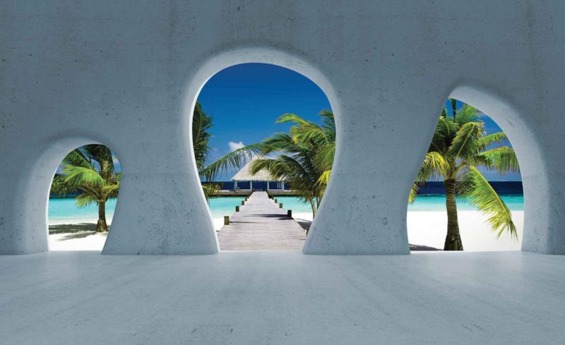 Fotobehang Uitzicht op Tropisch Eiland