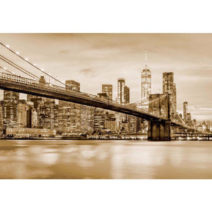 Fotobehang Brooklyn Bridge NYC Sepia
