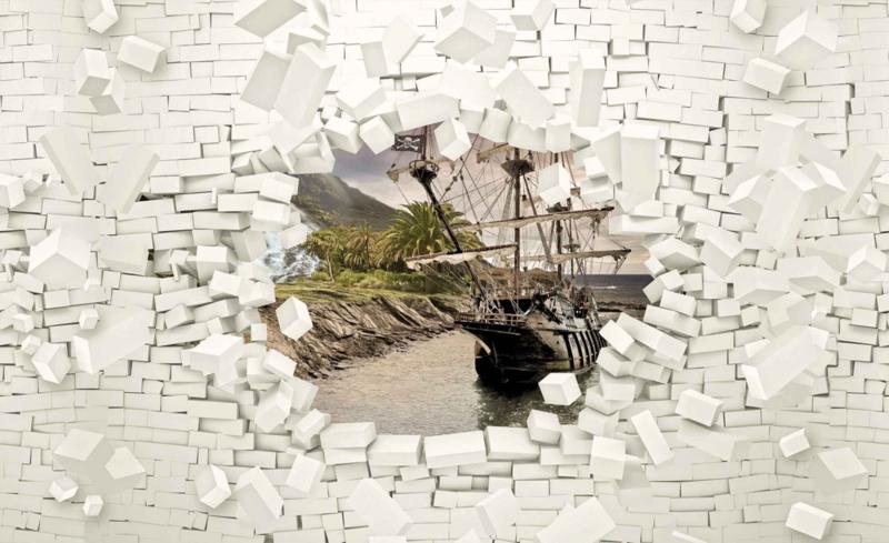 Fotobehang Ship and Brick