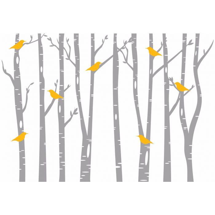 Fotobehang Birds & Birch