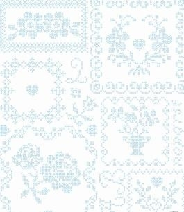 Eijffinger Pip Studio behang  386001 Cros Stitch Wit / Blauw