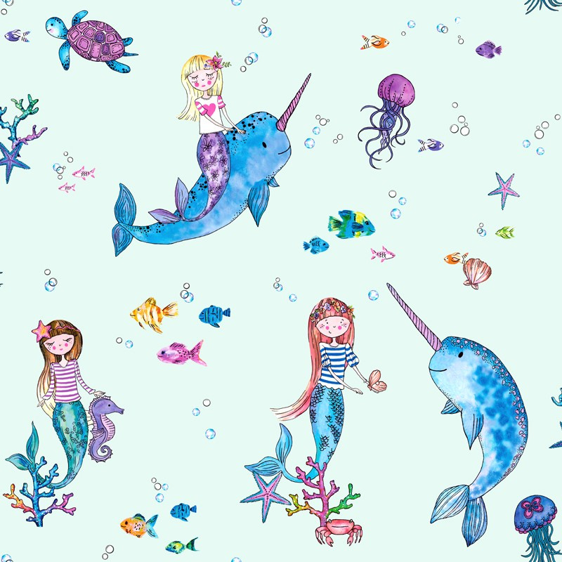Over the Rainbow 91011 Narwhals and Mermaids Light Teal