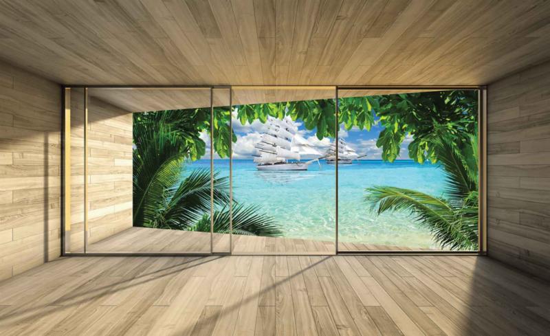 Fotobehang Uitzicht op palmbomen en zeilschip