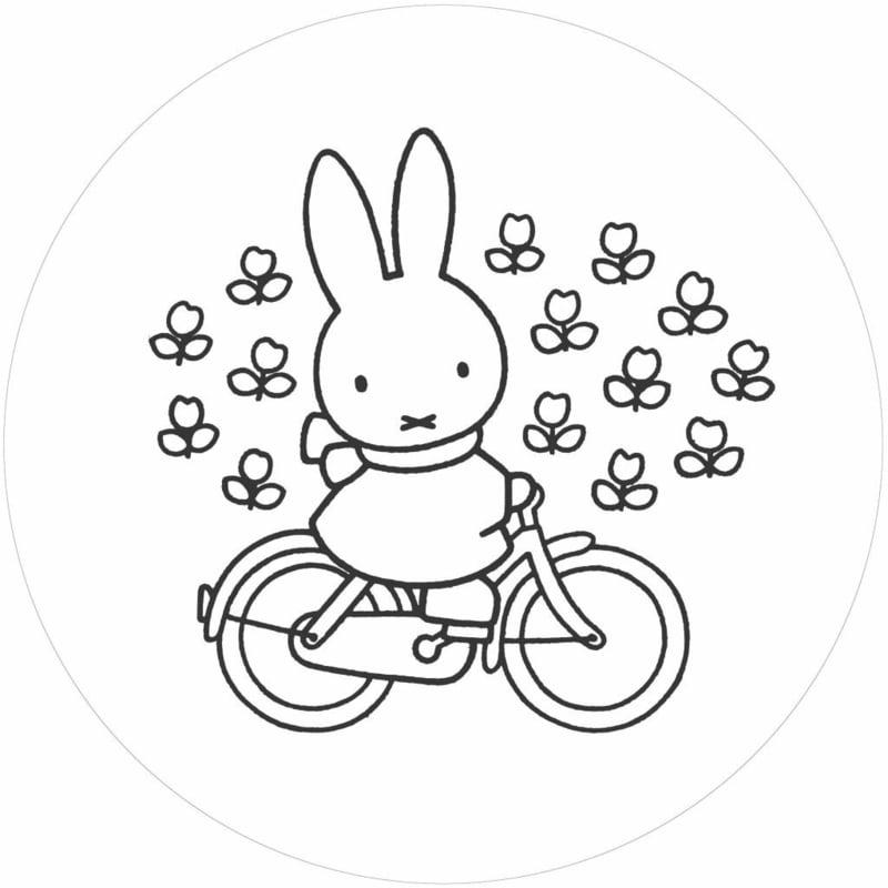 Kek Wonderwalls behangcirkel Miffy riding bike CK-030