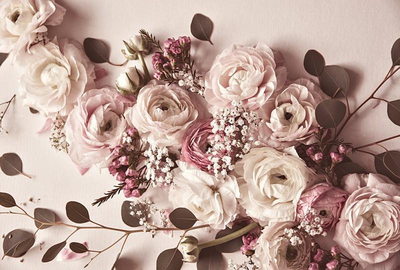 Fotowand Flat lay flower by Monica Strigel afm. 400cm x 270cm hoog