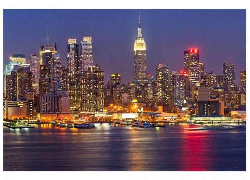 Fotobehang Manhattan bij nacht