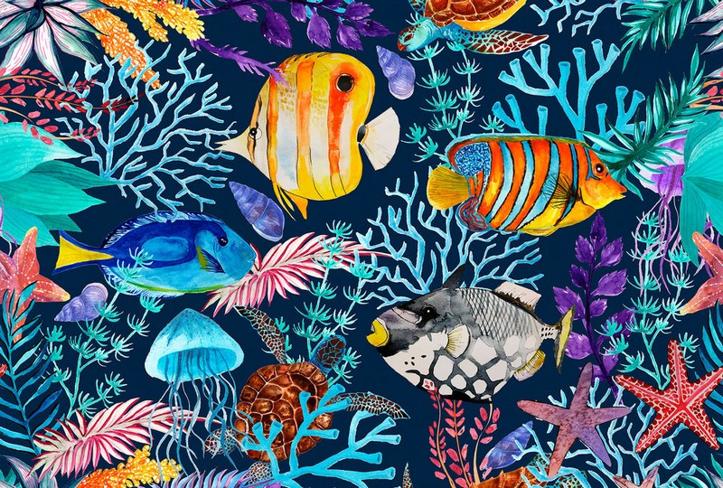 Fotowand Underwater 2 by Andrea Haase afm. 400cm x 270cm hoog