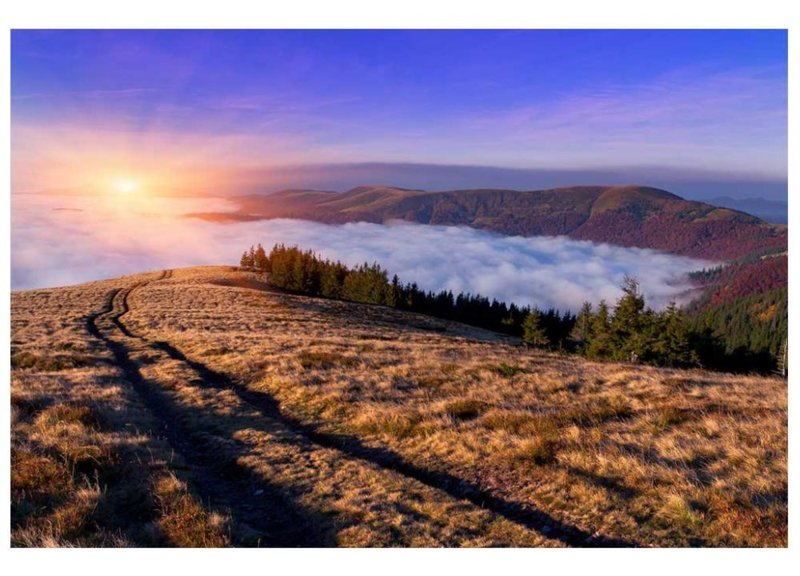 Fotobehang Zonsopkomst in de bergen