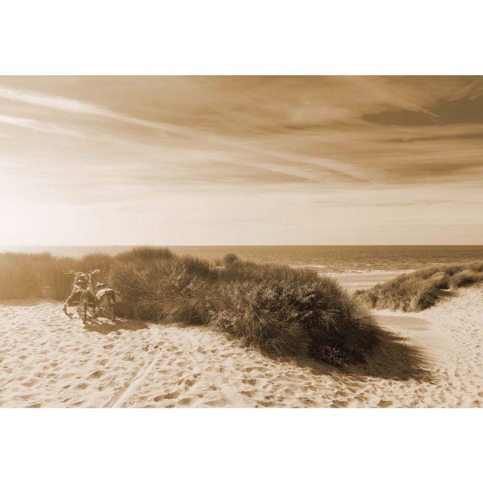 Fotobehang Zonsondergang op het Strand Sepia