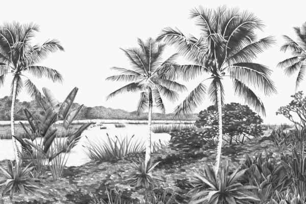 Esta Jungle Fever 158901 fotobehang tropsich landschap met palmbomen zwart en wit