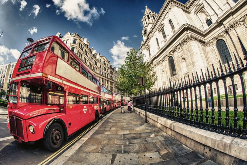 Fotobehang Dubbel Decker Bus