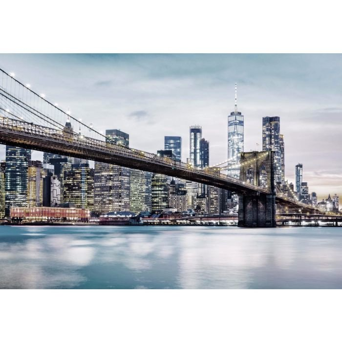 Fotobehang Brooklyn Bridge NYC Grijs Blauw