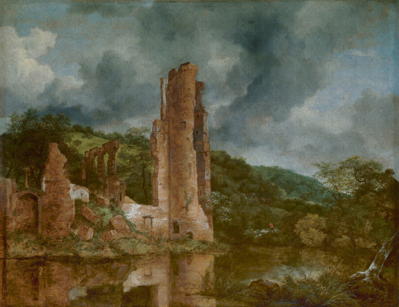 Dutch Painted Memories 8077 Landscape with the ruins of the castle of Egmond