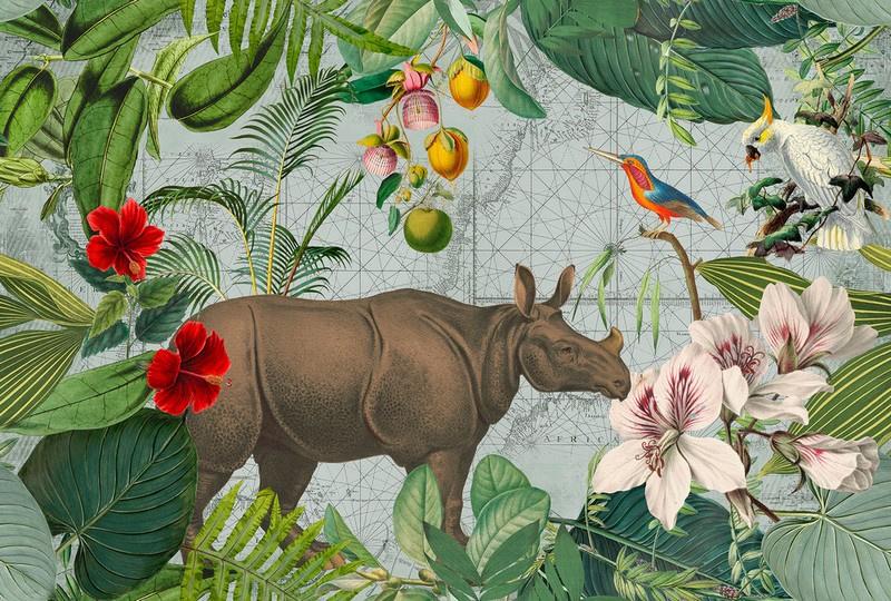 Fotowand Jungle Rhino by Andrea Haase afm. 400cm x 270cm hoog