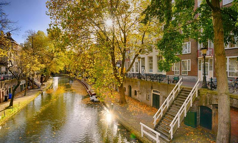 Fotobehang Holland 1548 - Utrecht oude gracht ||