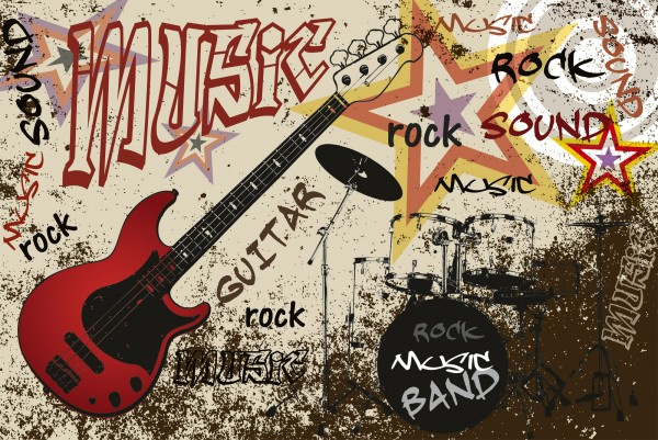 Fotobehang Rode gitaar