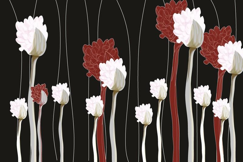Fotobehang Planten op zwart