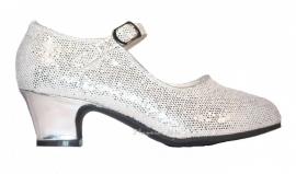 Verkleed Schoenen Zilver Glitter + gratis kadootje