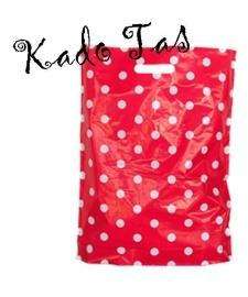 Kadotas Polkadots | rood met witte stip tas