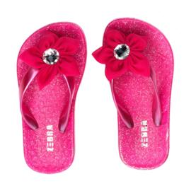 Zebra Slippers bloem Roze - maat 30 tm 37 + gratis lipgloss