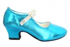 Prinsessen Schoenen Blue Metalic Zilver + gratis kadootje