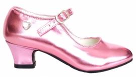 Hakken Schoentjes Pink Metalic Hart + gratis armband