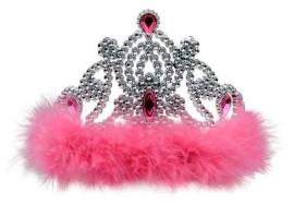 Kroontje Zilver Veren Roze