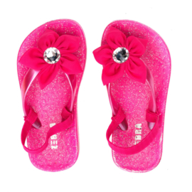 Zebra Slippers bloem Roze - maat 22,5 tm 31 + gratis lipgloss