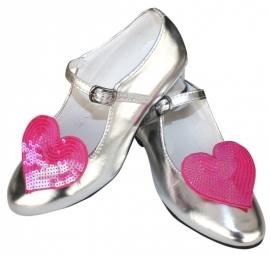 Prinsessen Schoenen Zilver Glitter Hart + gratis kadootje