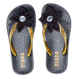 Zebra Slippers bloem Zwart Goud - maat 30 tm 37 + gratis lipgloss
