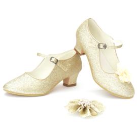 Prinsessen schoenen goud glitter champagne + kadootje