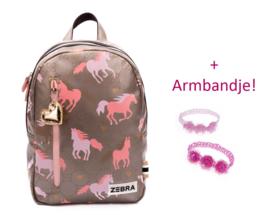 Zebra Rugzak Paard Hop Galop (m) + gratis armbandje