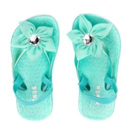 Zebra Slippers bloem Mint - mt 22,5/23,5 + gratis lipgloss