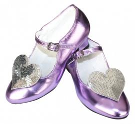 Prinsessen Schoenen Paars Metalic Glitter Hart + gratis kado