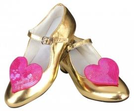 Prinsessen Schoenen Goud  Glitter Hart + gratis kadootje