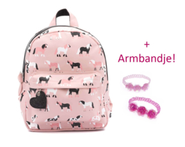 Zebra Rugzak Horses Pink (s) + gratis kadootje