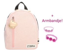 Zebra Rugzakje Sparkle Pink (s) + gratis armbandje