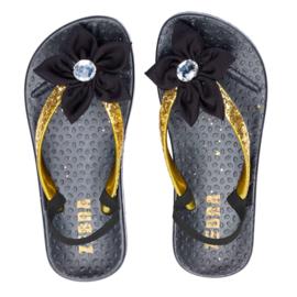 Zebra Slippers bloem Zwart Goud - maat 22,5 tm 31 + gratis lipgloss