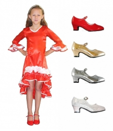 Prinsessen schoenen + jurk Pakket Rood
